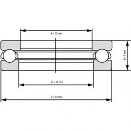 Thrust Ball Bearings 51100 10x24x9 mm