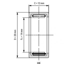 Drawn Cup Needle Roller Bearing HK1412 14x20x12 mm